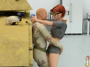 Red sexy girl for soldier - 3D comics
